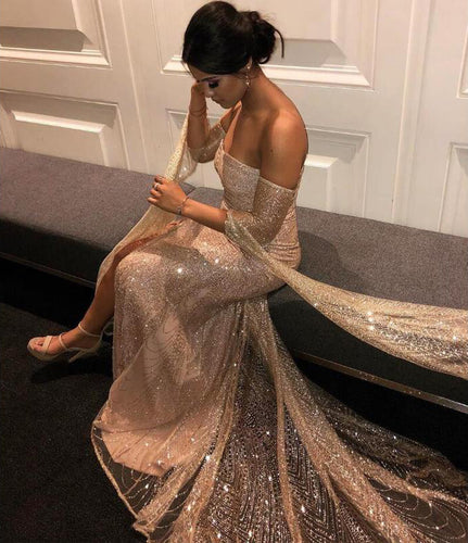 Off the Shoulder Sparkle Long Sleeves Prom Dresses Sequins Mermaid Evening Dress PW480