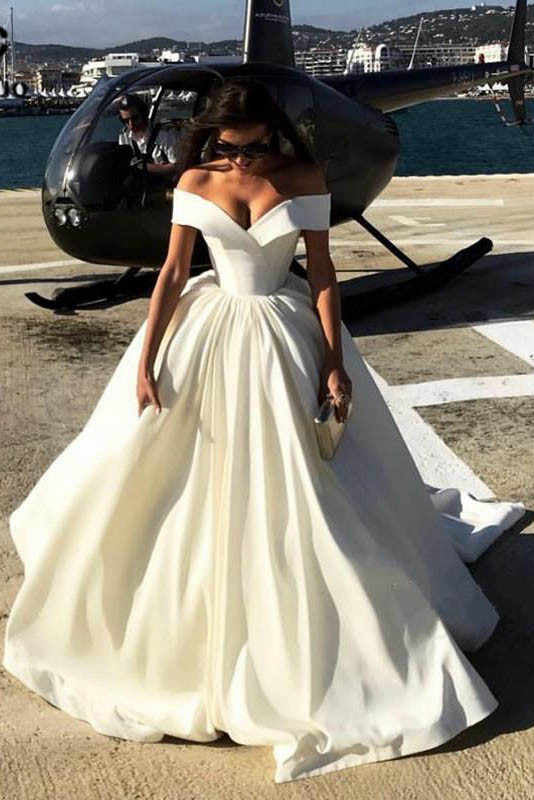 Off The Shoulder V Neck Ivory Wedding Dresses Ball Gown Long Prom Dresses Pw556