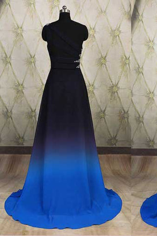 One Shoulder Ombre Black and Blue Ruffles Prom Dresses, Simple Cheap Party Dresses PW692