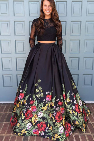 A line Two Piece Black Long Sleeve Prom Dress With Floral Print Skirt Evening Dresses PW672