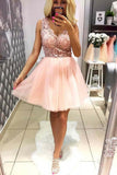 Pink Tulle V Neck Homecoming Dresses with Lace, Short Straps Cocktail Party Dresses H1120
