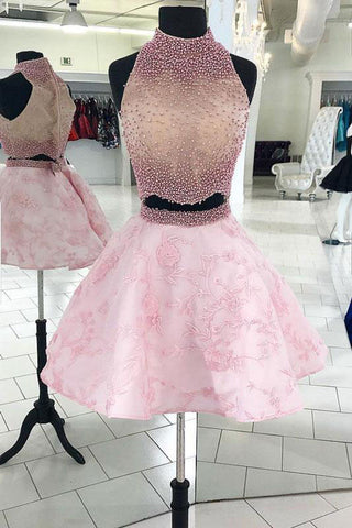 Pink Two Pieces Beads Lace Short Prom Dresses, Halter Sleeveless Homecoming Dresses H1045