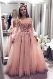 Princess Ball Gown Blush Pink Lace Off the Shoulder Prom Dresses With Long Sleeves P1098