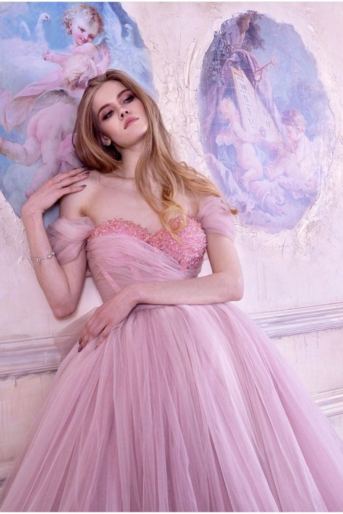 Princess Ball Gown Pink Tulle Off the Shoulder Lace up Homecoming Dresses with Bowknot H1228