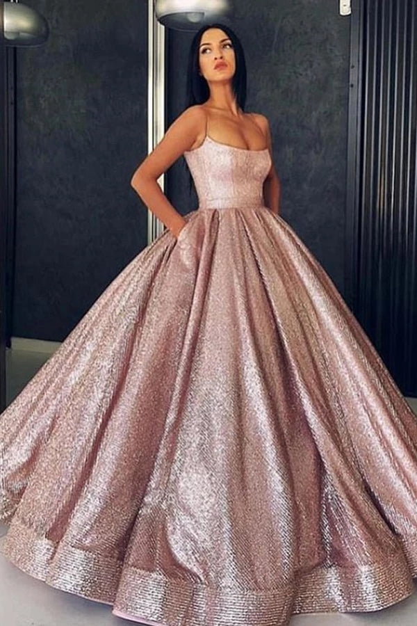 Princess Rose Gold Spaghetti Straps Sleeveless Ball Gown Prom Dress with Pockets P1140
