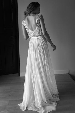 Princess Sleeveless Scoop Tulle Beads Two Piece Wedding Dresses with Open Back PW582