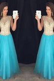 Pd61128 Charming Scoop Tulle Cap Sleeve Open Back High Neck Beads Long Prom Dresses PM872