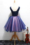 Purple Tulle V Neck Straps Lace up Homecoming Dresses with 3D Flowers Dance Dresses H1234