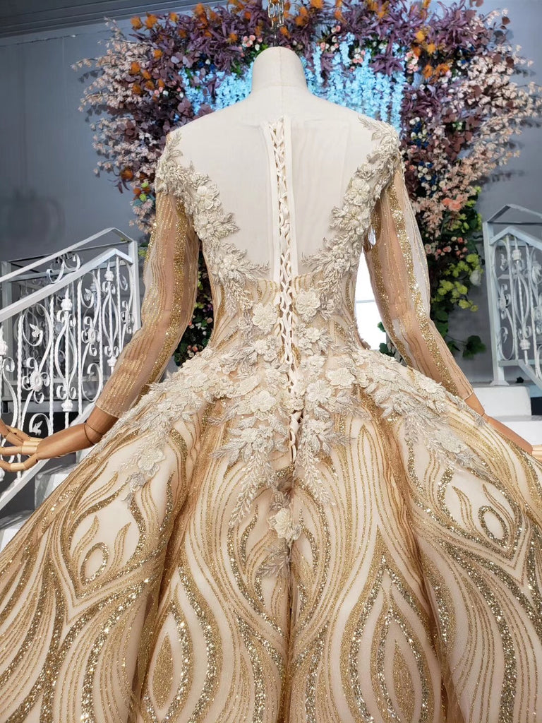 Long Sleeve Ball Gown Beads Lace Appliques Prom Dresses Sequins Quinceanera Dresses P1159
