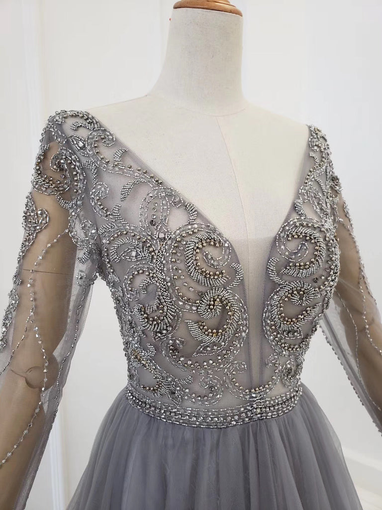 A Line Long Sleeves V Neck Gray Tulle Prom Dresses with Beading, Evening Dress P1430