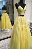 A Line Spaghetti Straps Yellow Two Pieces Prom Dresses, Tulle V Neck Evening Dress PD16