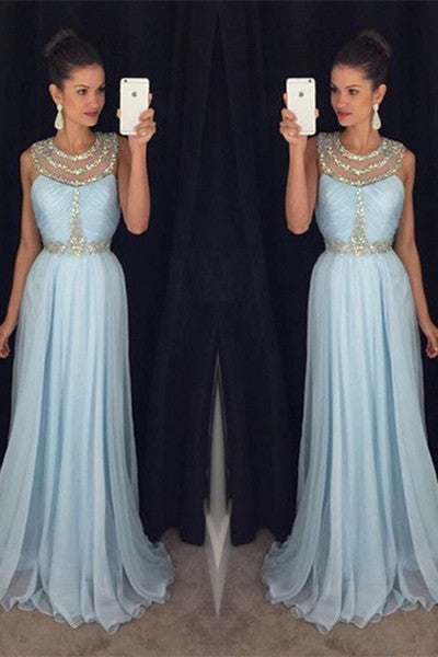 Light blue chiffon round neck sequins long formal dresses ,evening dress