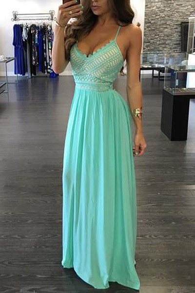 Green chiffon V-neck backless evening dress,sexy summer dresses