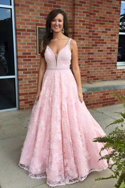 Pink lace V-neck modest handmade graduation dress,prom dress