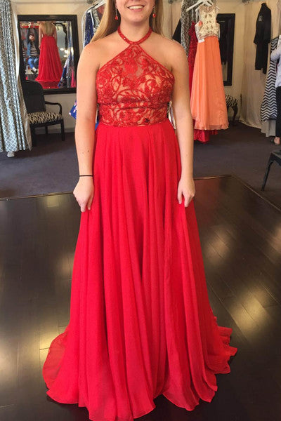 Red chiffon lace top halter A-line long evening dresses,formal dresses for prom