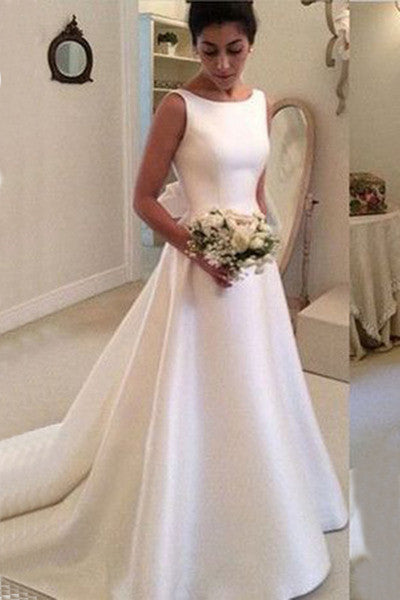 White satin round neck bowknot backless train wedding dress, handmade dresses PW283