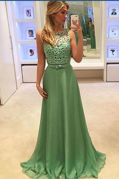 Simple green chiffon round-neck formal prom dress,long dress