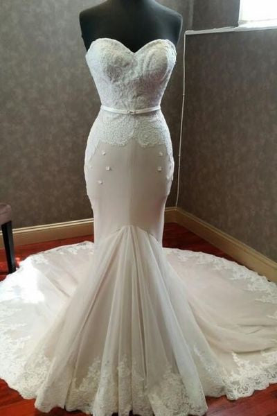 Elegant ivory lace tulle sweetheart mermaid dress,floor-length Wedding dresses PW183