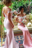 Pink chiffon lace off-shoulder long prom dresses,bridesmaid dress