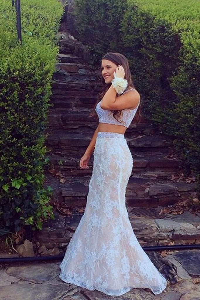 White lace two pieces mermaid beading long prom dress ,graduation dress