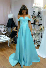 Blue satins off-shoulder long senior prom dress, homecoming dress