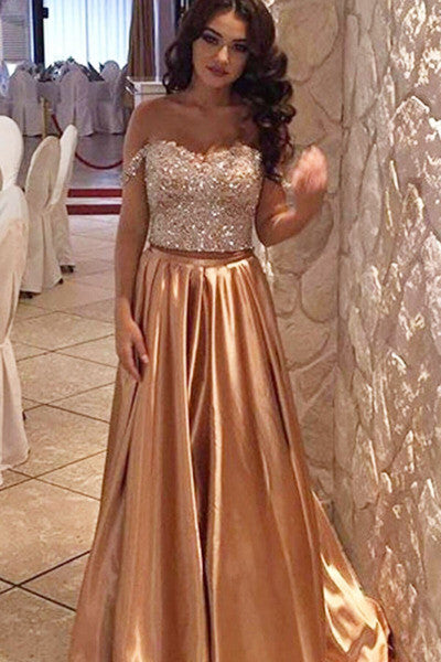 Gold satins sequins off-shoulder A-line dance senior prom gown, graduation dresses