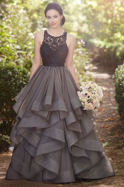 Black tulle lace A-line long dress,prom dress for graduation
