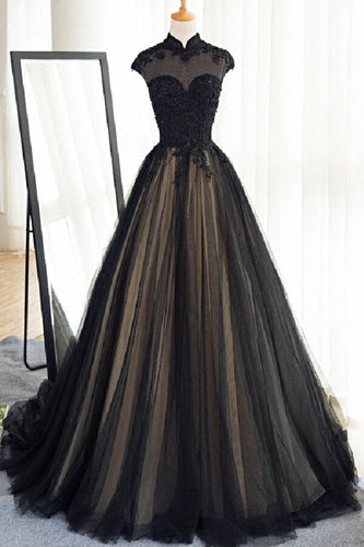 Black tulle cap sleeves floor-length long prom dresses,luxury dresses uk PH875