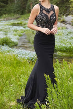 Black chiffon sequins round neck mermaid long prom dress