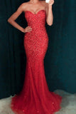 Red sequins sweetheart floor-length mermaid prom dresses