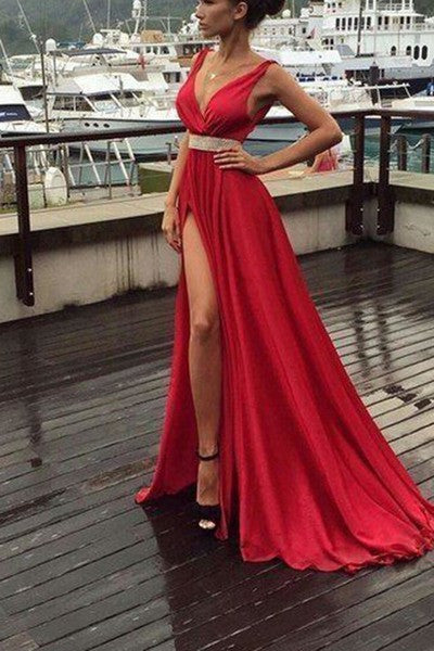 Sexy red chiffon V-neck slit long evening dress ,floor-length dress for prom