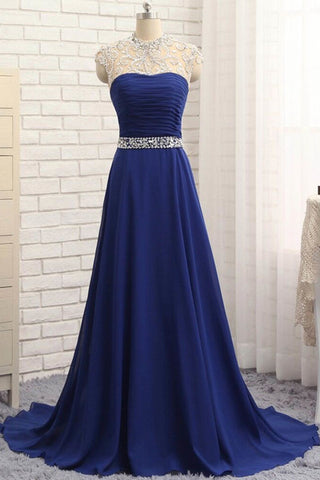 Blue chiffon beading rhinestone round neck open back long A-line prom dress
