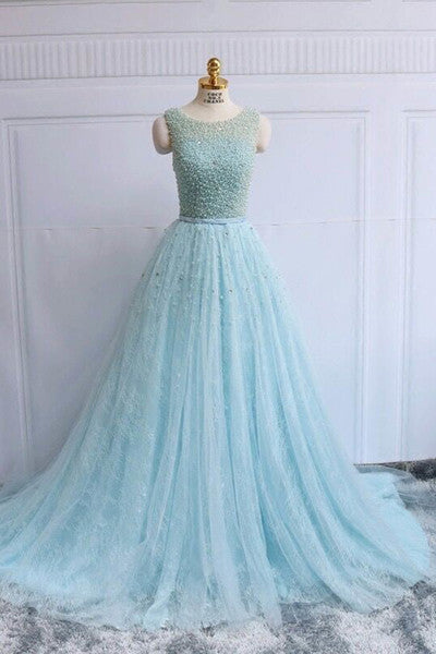Light blue tulle beading round neck A-line prom dress