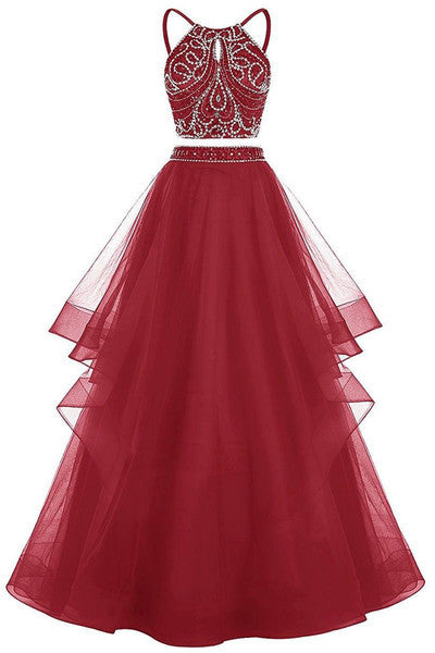 Red tulle two pieces sequins A-line long evening dress,prom dress