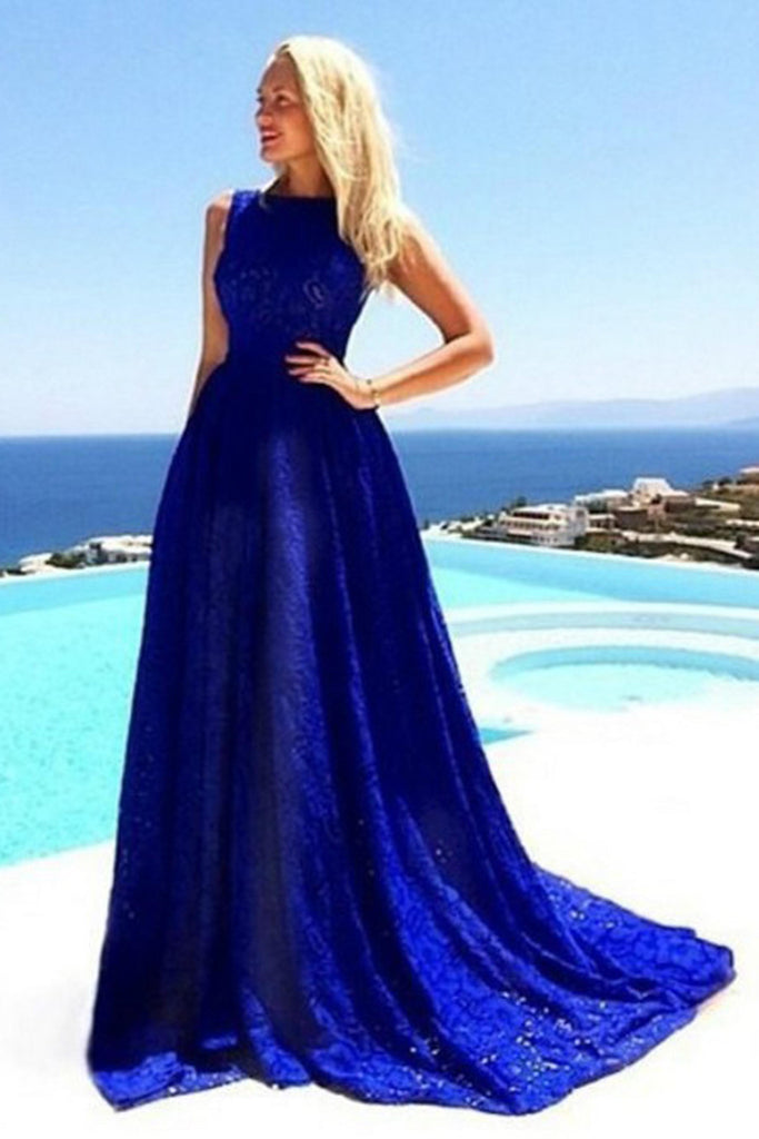 Simple blue lace round neck long prom dress,summer dress