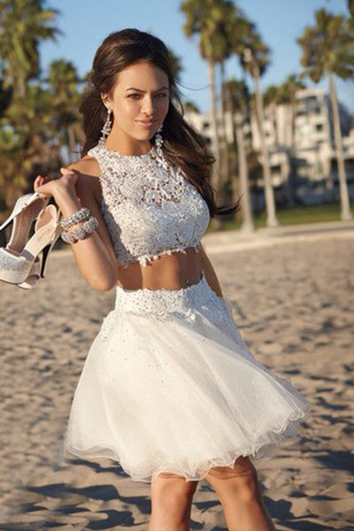 Cute white organza lace two pieces round neck short Homecoming dresses
