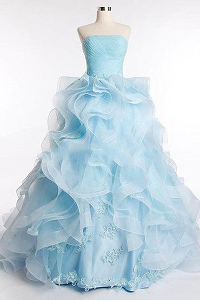 Light blue organza sweetheart applique A-line prom dress,graduation dress