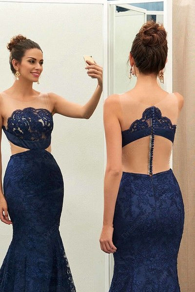 Unique blue lace mesh see-through mermaid floor-length evening dress