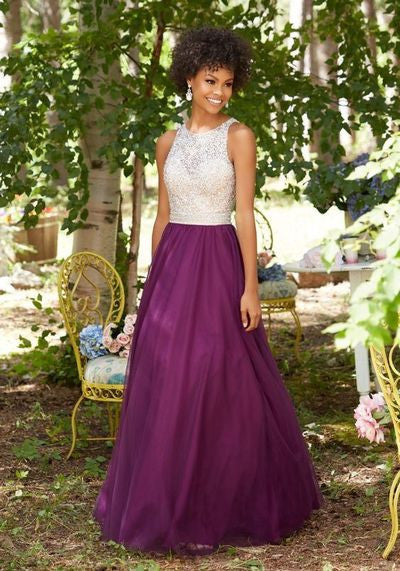Purple Chiffon Round Neck Sequins Long Sleeveless Floor-Length Prom Dresses uk PM815