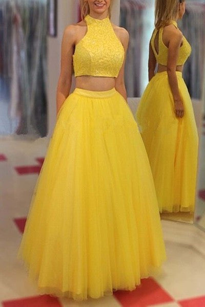 Yellow tulle two pieces O-neck A-line long prom dress,graduation dress