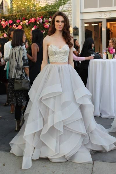 Gray tulle organza two pieces sweetheart A-line long prom dress