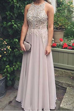 Elegant chiffon lace round neck sequins evening dresses, long prom dress