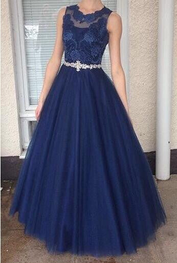 Royal blue tulle A-line lace round neck see-through long prom dresses ,formal dresses