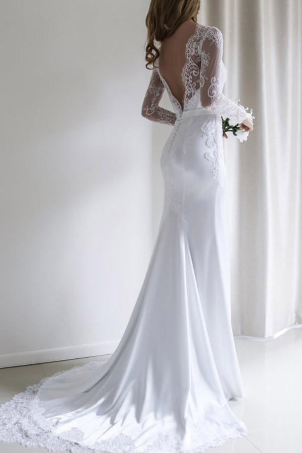 Elegant Lace Long Sleeves Mermaid Backless White Long Wedding Dress with Train PM164