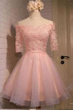 Glamorous A-line Off-the-shoulder Coral Organza Half Sleeves Homecoming Dress With Appliques PM446