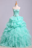 Ball Gown Sweetheart Organza Beads Lace up Ruffles Tiffany Blue Prom Quinceanera Dresses PW178
