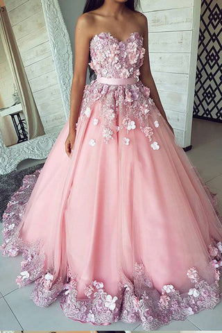 Ball Gown Pink Tulle Lace Applique Long Sweetheart Strapless Prom Dresses,Evening Dresses PW255