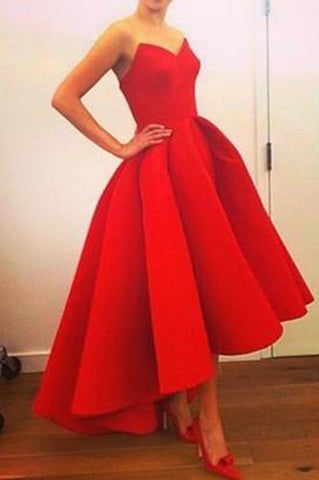 New Fashion High Low Red Vintage Strapless Sleeveless Formal Gowns,online prom dresses uk PH138