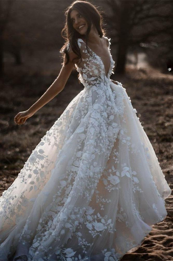 A Line Ivory V Neck Country Wedding Dresses with Appliques, Beach Wedding Gowns W1237