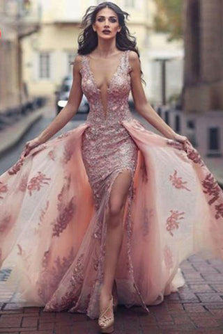 Sexy Deep V Neck Mermaid Tulle Lace Appliques Slit Front Backless Princess Prom Dresses PH742